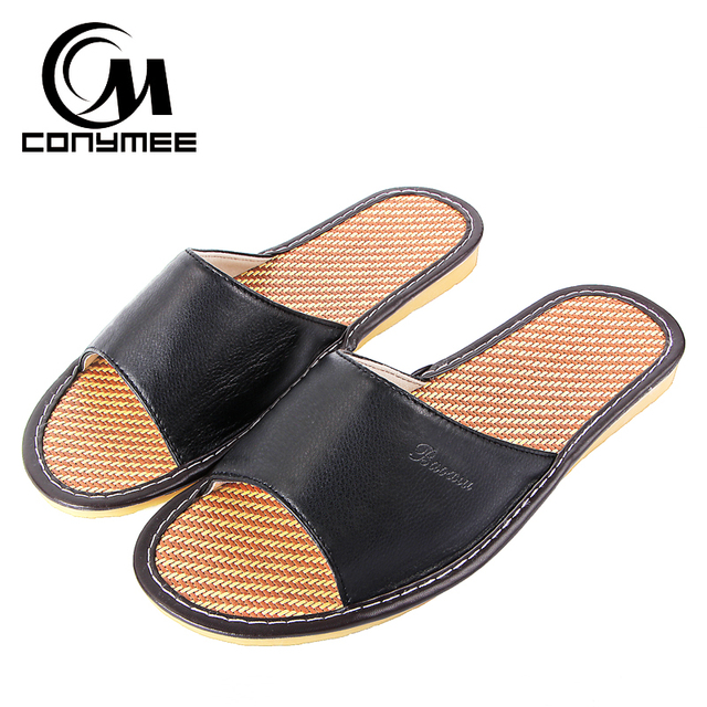 b98bc757c8a6 CONYMEE Summer Men Beach Shoes Leather Flip Flops Linen Sandals Mens Indoor  Home Slippers Casual Sneakers 2018 Zapatos Hombre