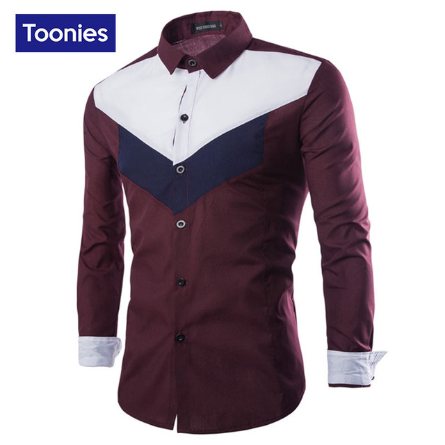 Autumn New Men's Long Sleeved Shirt Brand Male Cloth Patchwork Geonetric Color Business Slim Fit Men Dress Shirts Chemise Homme