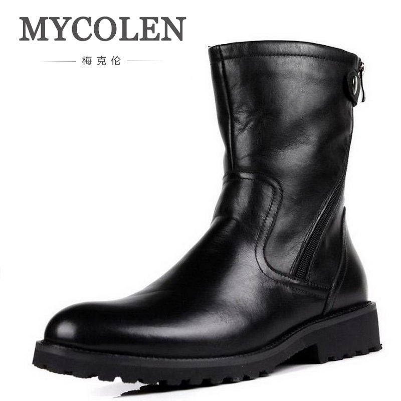 MYCOLEN New Fashion Keep Warm Cotton Ankle Boots Autumn Winter Motorcycle Boots Snow Men Shoes With Zipper Erkek Bot Ayakkabi lozoga new men shoes fashion boots ankle 100