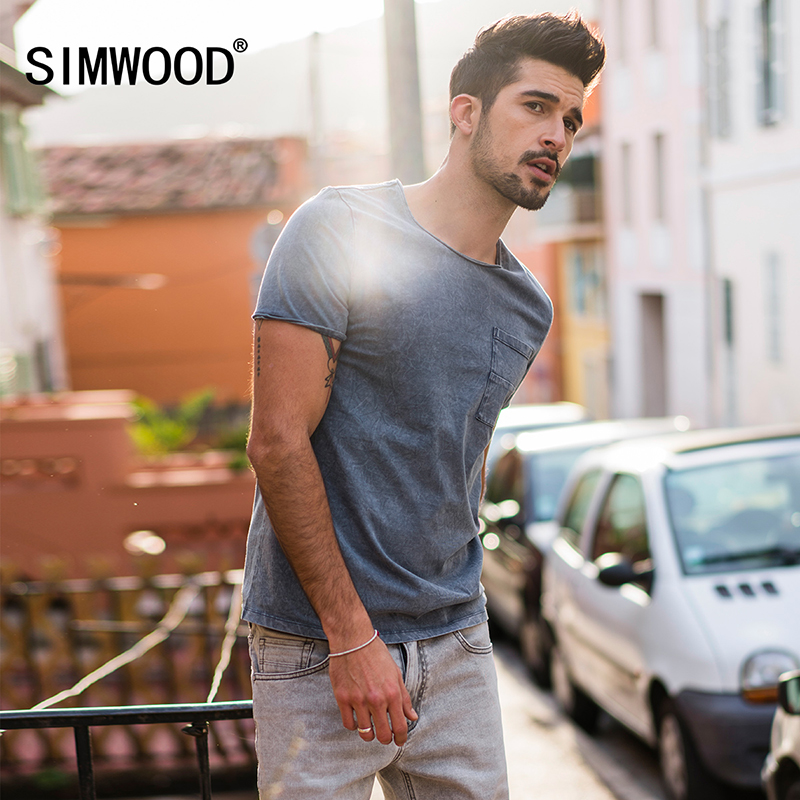 SIMWOOD New 2018 Summer T Shirts Men 100% Pure Cotton Pocket Breton Top Casual Slim Fit High Quality Brand Clothing TD017109