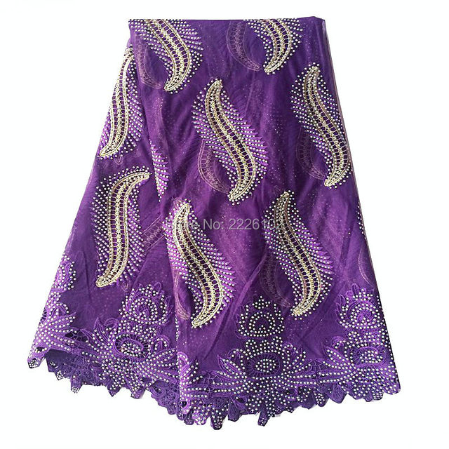 Embroidery Designs Purple Indian Fabric Textile Material Fabric