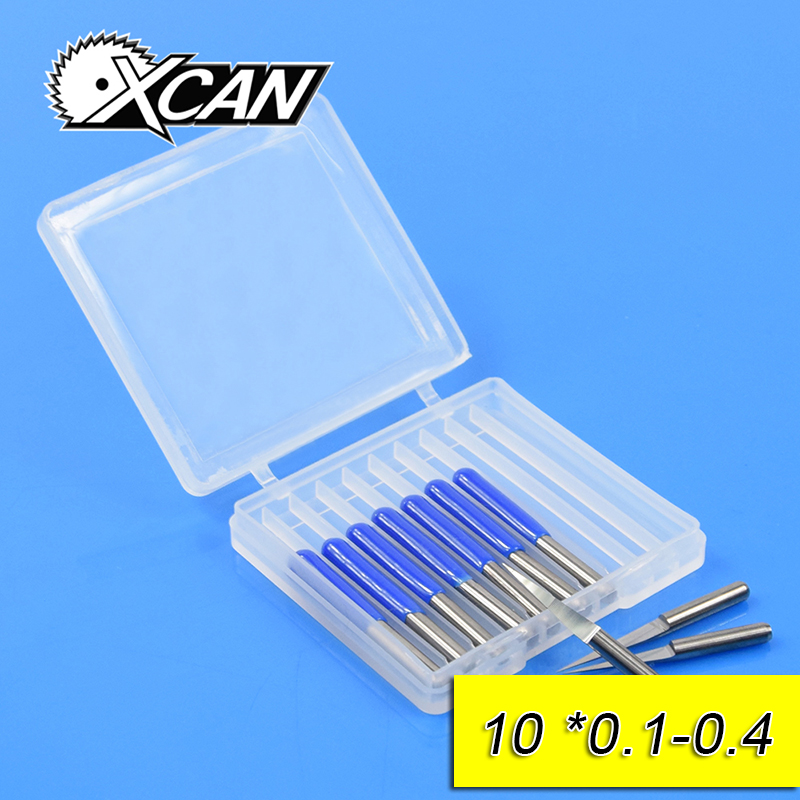 XCAN Hot selling 10pcs lot V Shape flat bottom Carbide PCB Engraving Bits CNC Router Tool 10 degree 0.1mm free shipping free shipping 1m pcs flat shape clear