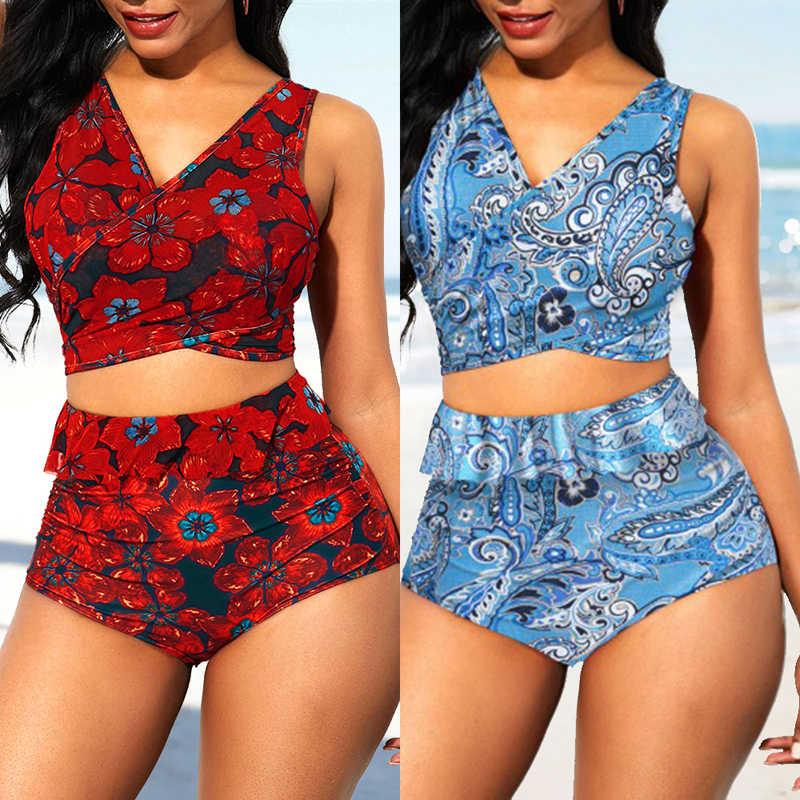 Sfit Musim Panas Wanita Dasi Kembali High Waist Floral Cetak Rendah Memotong Bikini Push-Up Kasual Baju Renang Brasil Mujer 2019