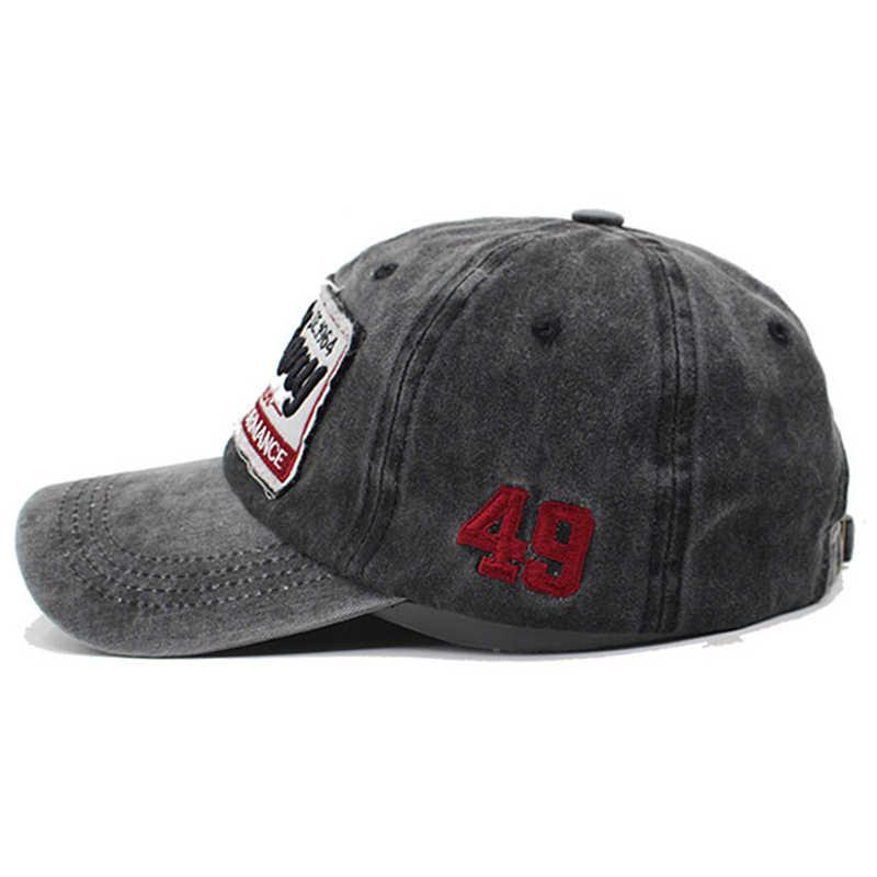 Новая промытая джинсовая бейсболка кепка мужская вышитая бейсболка s Женская американская хлопковая кость винтажная хип-хоп кепка патчи папа шляпа