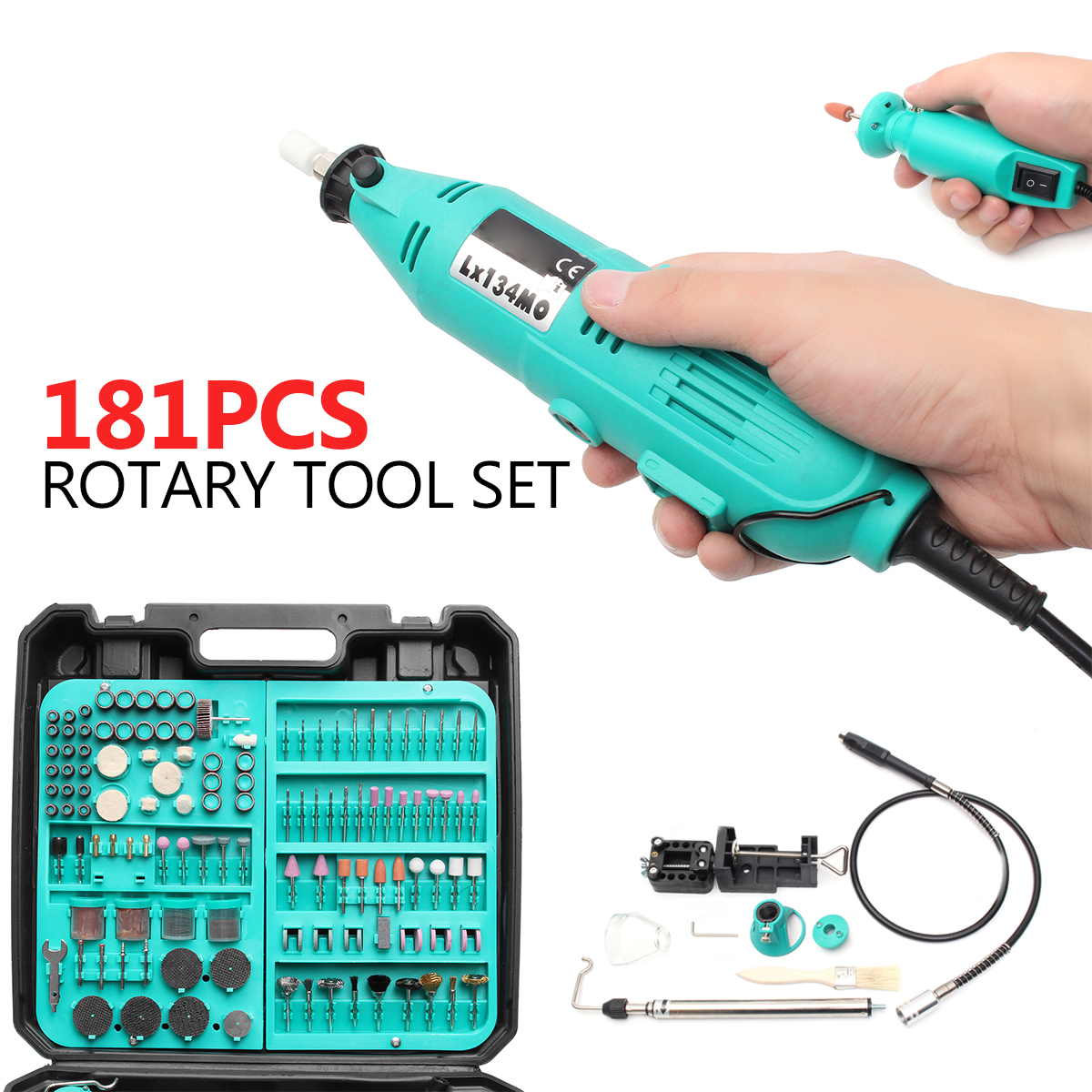 181Pcs Mini Drill Electric Grinder Sanding Polishing Rotary Tool with Accessory Rotary Tool Set Engraver Sander Polisher Craft 206pcs 1 8 dremel drill engraver electric grinder tool accessories rotary tool set sanding grinding machine polishing accessory