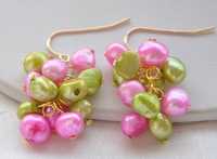 free shipping 00203 pink green baroque FRESHWATER PEARL grape DANGLE EARRING