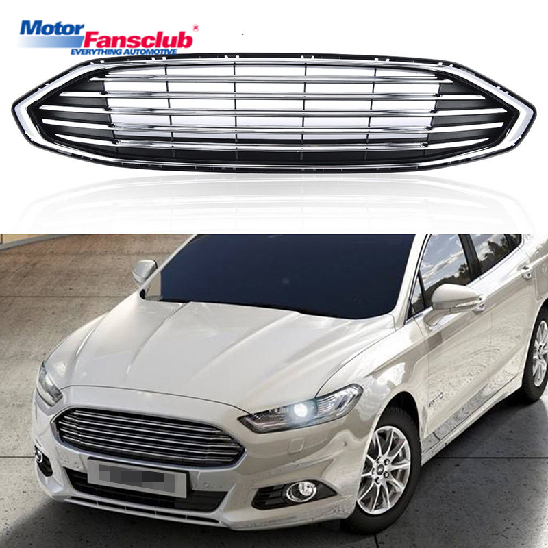 1Pcs Car Racing Grille For Ford Mondeo Fusion Grill 2016-2017 ABS Black Chrome Radiator Trim Front Bumper Modify Hood Covers 2pcs car racing grille for ford fiesta 2014 2015 2016 grill abs black radiator chrome front bumper upper lower modify mesh