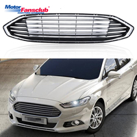 1Pcs Car Racing Grille For Ford Mondeo Fusion Grill 2016 2017 ABS Black Chrome Radiator Trim Front Bumper Modify Hood Covers