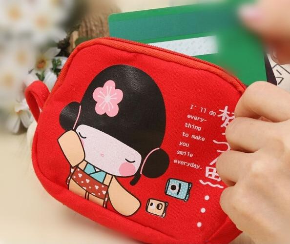 Wholesale 5pcs ( Cute Japanese Girl Print Canvas Phone Bag Double Zipper Purse Coin Bag