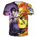 Classic Naruto Anime camisetas Harajuku camisetas Naruto Kyuubi Uchiha Sasuke Impresiones camisetas Hombres Mujeres Hipster 3D t shirt Tops
