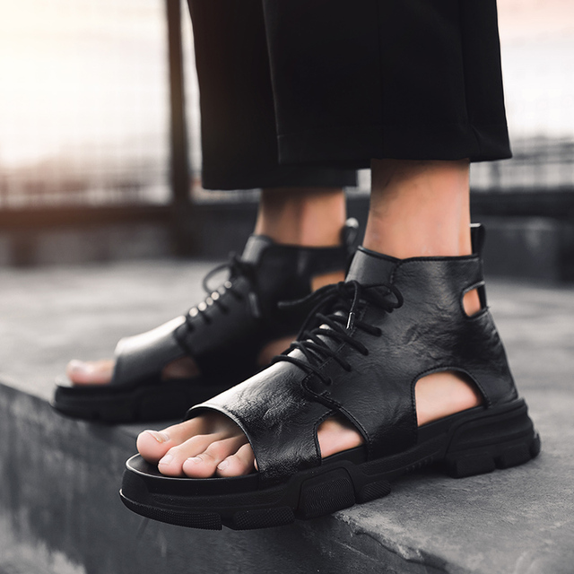 Fashion Man Beach Leather Sandals 2019 Summer Outdoor High-top Shoes Roman Men Casual Shoes Krasovki Tenis Slippers Hot Sale