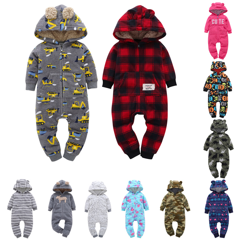 FREE SHIPPING New Cotton Baby Infant Long Sleeve Fleece   Rompers   for Winter Hooded Jumpsuits new-born 6-24 Months Clothing