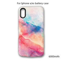 For iPhone x xs Colorful marble Battery Case 6000mAh Power Bank Portable External Battery Charger & Power Case For iPhone xs x