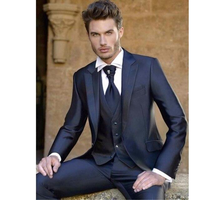 Navy Blue Men Suits Wedding Groom Best Man Tuxedos Formal Blazers Tow Ons Jacket