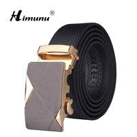 Black Leather Automatic Buckle Belt Designed For Business Men Luxury Men Leather Belt For Man Golden