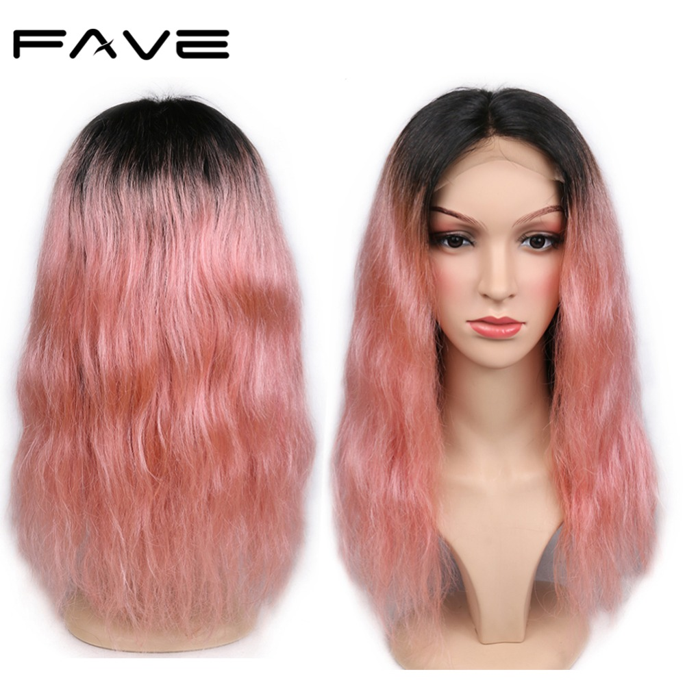 FAVE 4*4 Lace Closure Ombre Wigs Brazilian Remy Natural Wave Human Hair Wig 150% Density Natural Hairline 1B/Pink Lace Wig