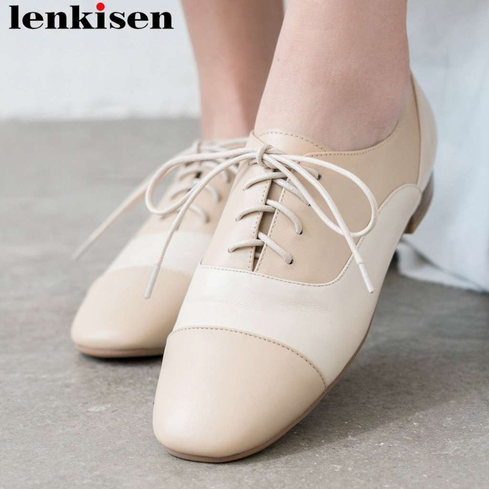 Lenkisen concise British style lace up low heels mixed color pumps genuine leather square toe comfortable dating party shoes L73Lenkisen concise British style lace up low heels mixed color pumps genuine leather square toe comfortable dating party shoes L73