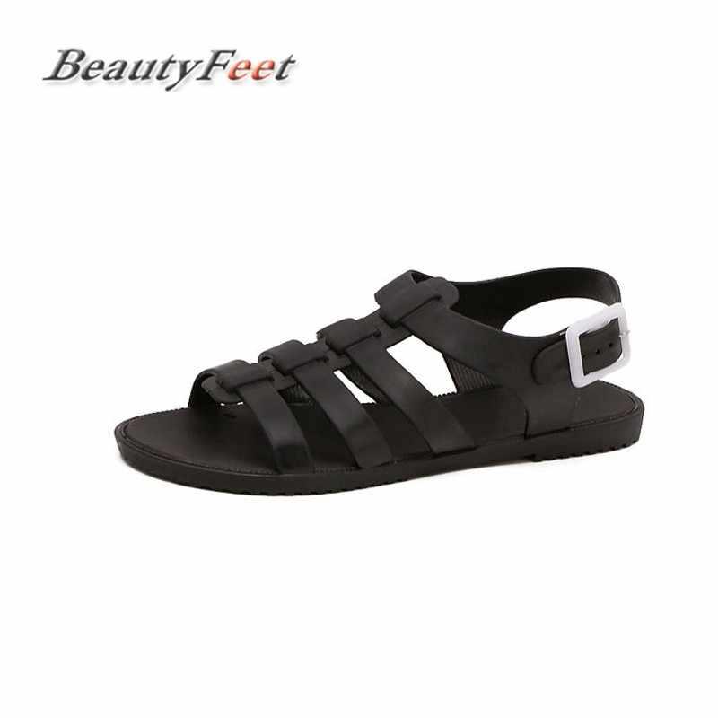 2abc762c6 2018 New Fashion Open Summer Toe Plastic Flat Sandals Casual Beach Shoes  Solid Women Sandals Sandalias