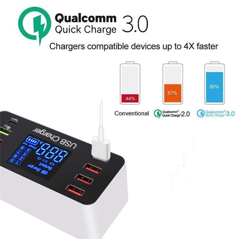 8 Port Multi Fast USB Charger Quick Charge 3.0 Multiple USB Phone Charging Station Universal USB HUB Charger QC 3.0 LED Display