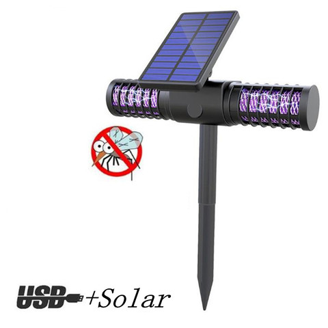 usb alimentado a energia solar de carregamento pragas bug assassino jardim gramado luz uv led