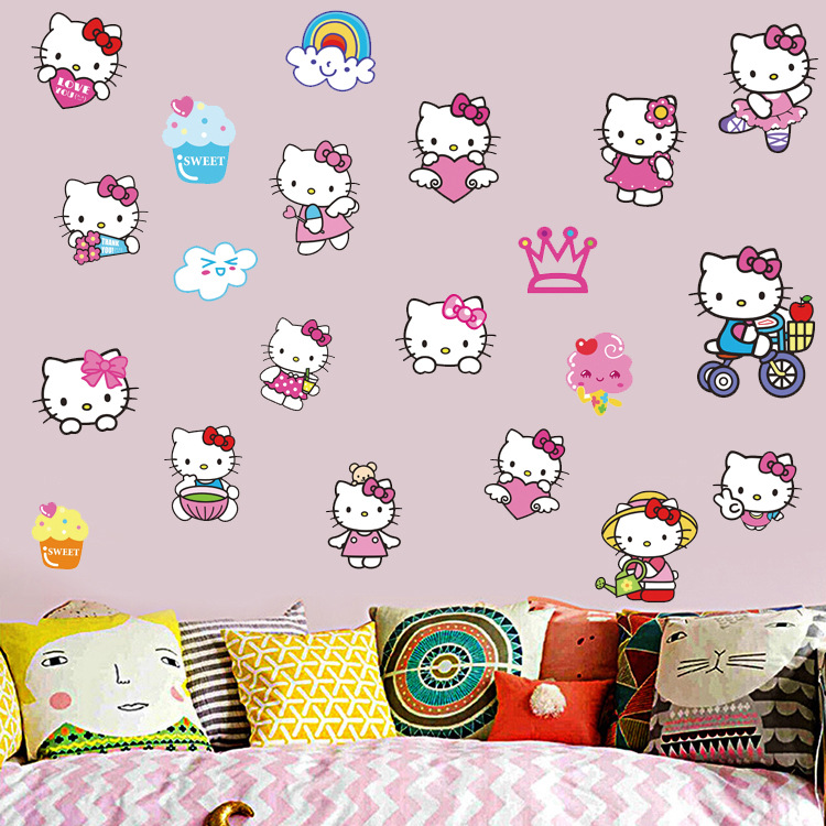 DIY Gift Cartoon Hello Kitty Kids Girl Room Wall Sticker