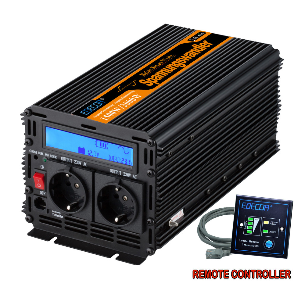 pure sine wave power inverter DC12V to AC220V 1500 watt Peak 3000w outdoor home school frequency
