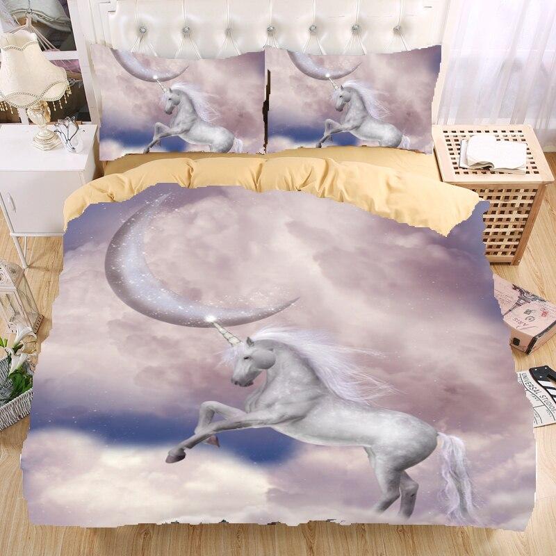 unicorn 3d bedding set monocerus print duvet cover set twin queen