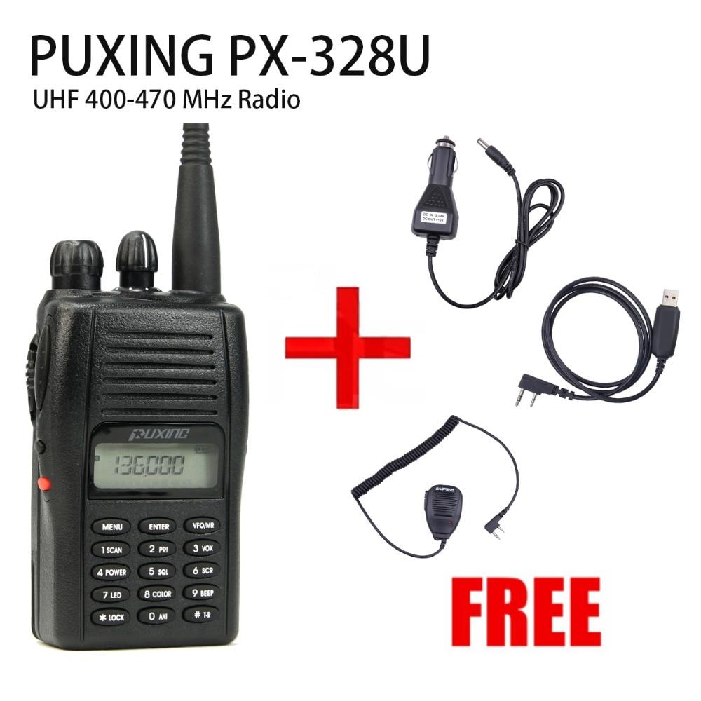 PUXING PX-328 UHF 400-470Mhz Radio + USB Cable + CAR ADAPTOR + Speaker Mic
