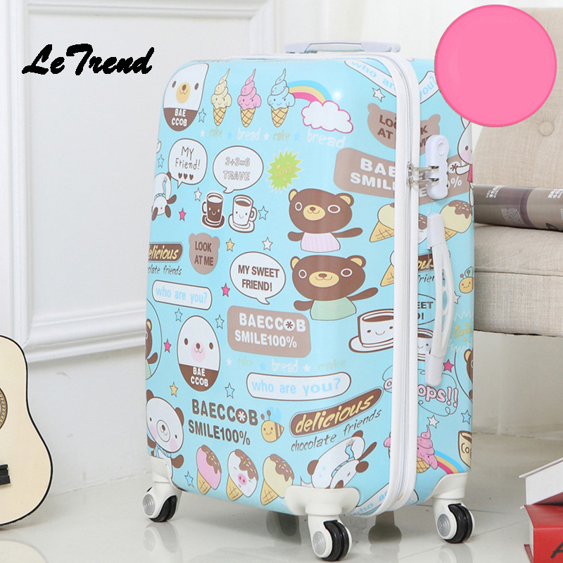 Letrend Cute Bear Student Rolling Luggage Spinner Children Cartoon Trolley Suitcase Wheels 20 Inch Kids Carry On Travel Bag