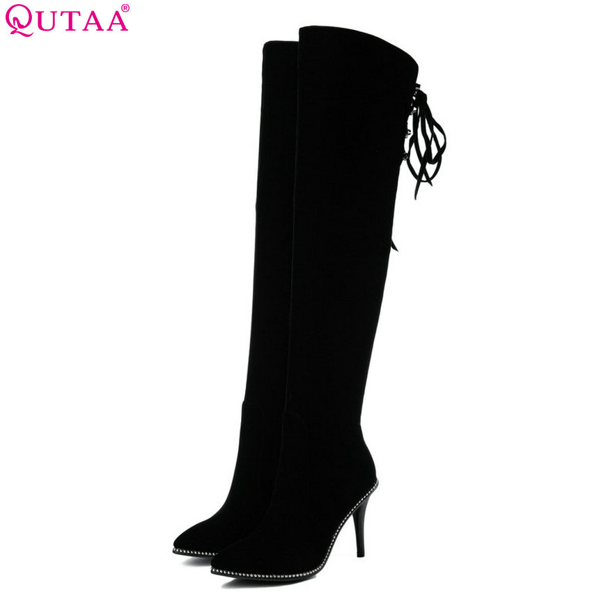 QUTAA 2019 Women Boots Elegant Sexy Women Knee High Boots Thin High Heel Pointed Toe Winter