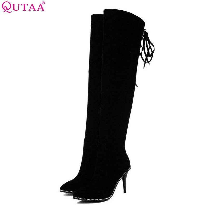 QUTAA 2019 Women Boots Elegant Sexy Women Knee High Boots Thin High Heel Pointed Toe Winter