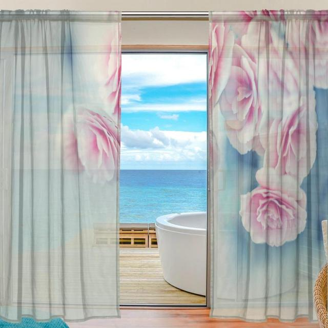 Sheer Door Curtain Panels W55x L78 Inch/W55xL84 Inch,Pink Flower,Polyester  Fabric