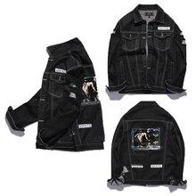 Neue Version Mode Off White Jacke Männer Hip Hop Jeans marke Kleidung Herbst Loch Graffiti tinte Religiöse Kanye West Jacke mäntel