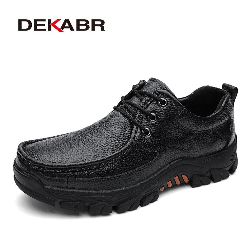 DEKABR Genuine Leather Men Shoes Casual 2019 Autumn Summer Fashion Shoes For Men Designer Shoes Casual Breathable Men's Oxfords
