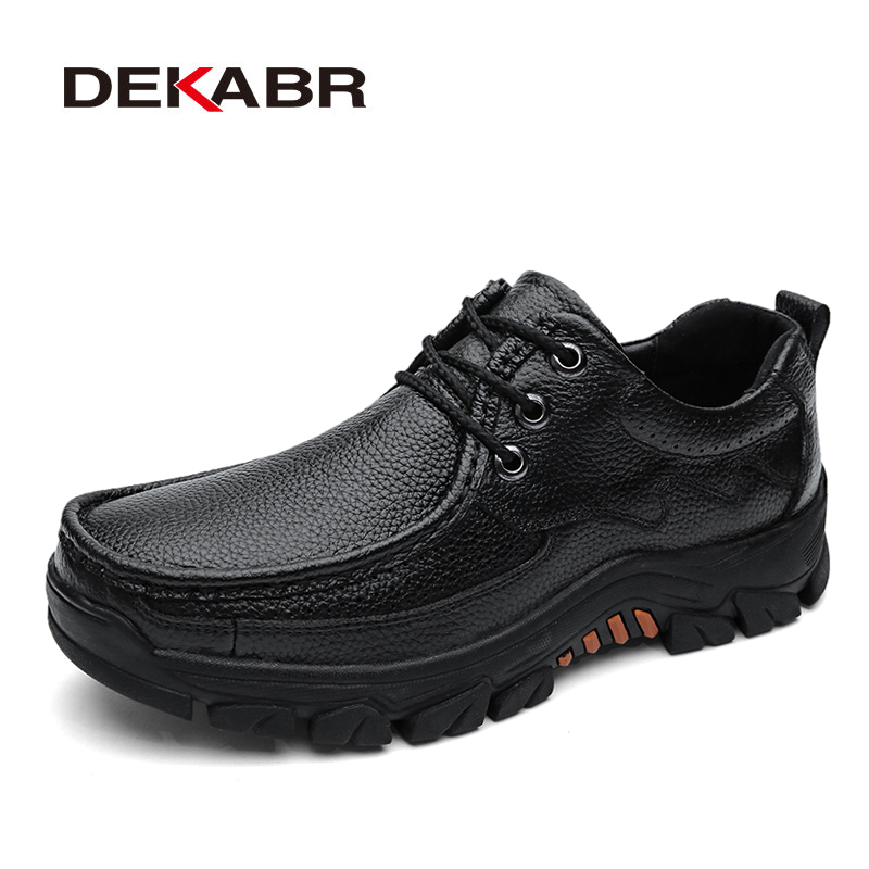 DEKABR Genuine Leather Men Shoes Casual 2020 Autumn Summer Fashion Shoes For Men Designer Shoes Casual Breathable Men's Oxfords
