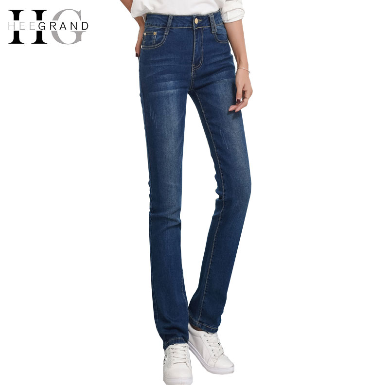 HEE GRAND Women High Waist Elastic Jeans High Plus Size Femme Washed Casual Skinny Pencil Blue Denim Pants Classic Simple WKN554 leiji fashion blue s 6xl 2017 woman mid waist plus size women leggings high elastic skinny pencil jeans capris pants femme