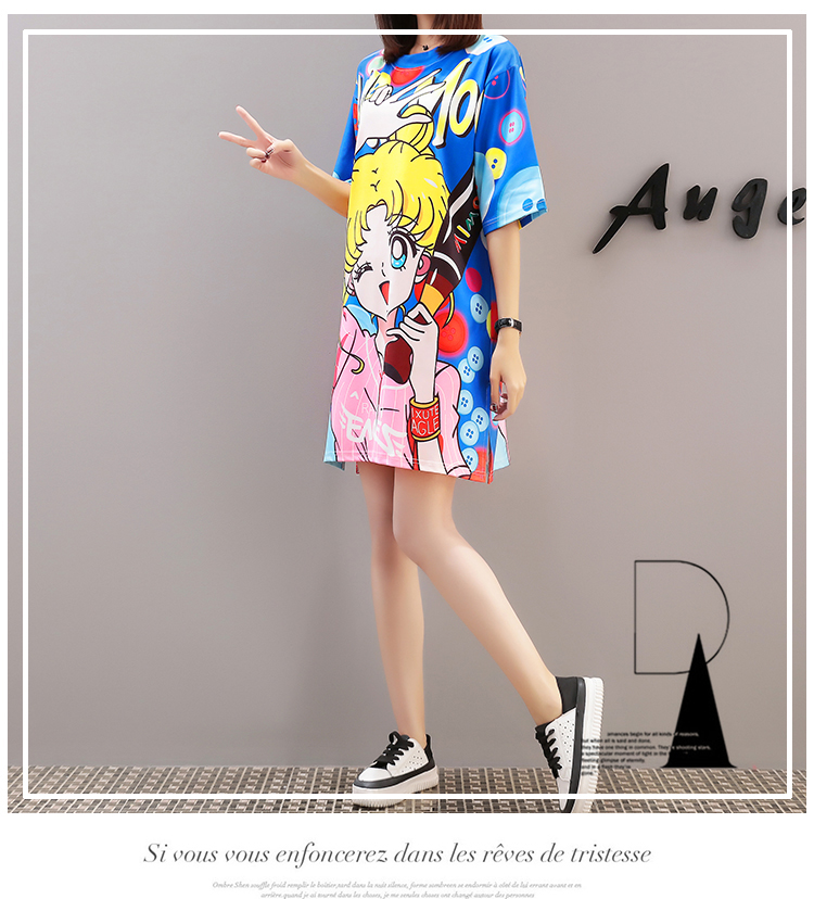 Cool Summer Harajuku Sailor Moon T Shirt Dresses  1