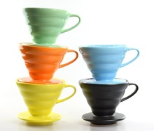 Free Shipping Ceramic Coffee Dripper Seven Color Black/white/Orange/Yellow/Green/Blue/Pink