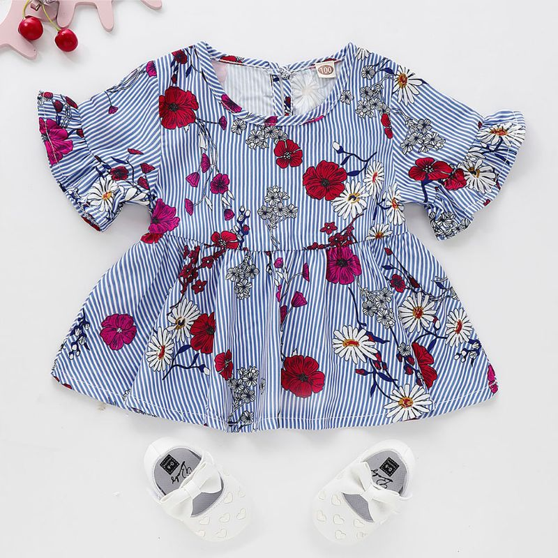 2019 Kids Toddler Baby Girl Dress Floral Printed Stripe Short Sleeve Ruffled Dress Princess DressSummer Clothes for 1-6Y(China)