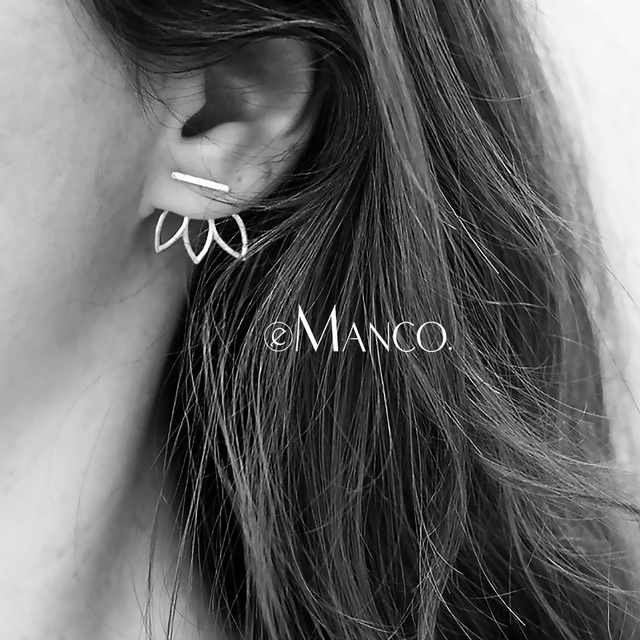 e-Manco Authentic 925 Sterling Silver Stud Earrings for Women Geometric Pattern