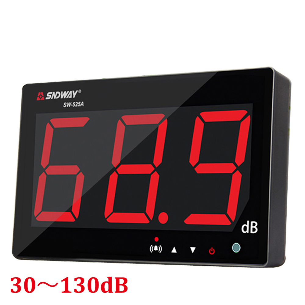 Digital Sound level meter 30~130db large screen display Restaurant Bar Indoor/office/home Wall hanging type noise meter decibel sndway sw 525b digital sound level meter 30 130db large display usb powered 9 6 decibel meter sound diagnostic tool