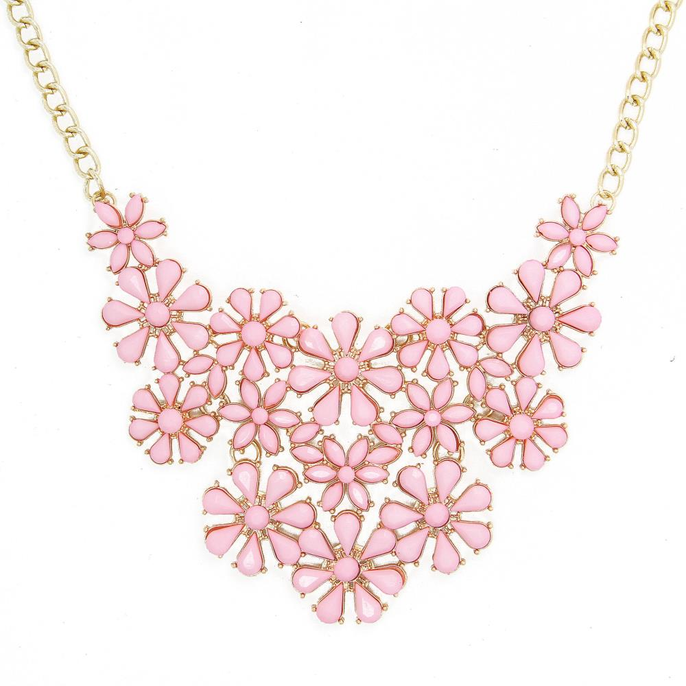Brand Pink Flower Statement Necklace Cx218 In Chain Necklaces From
