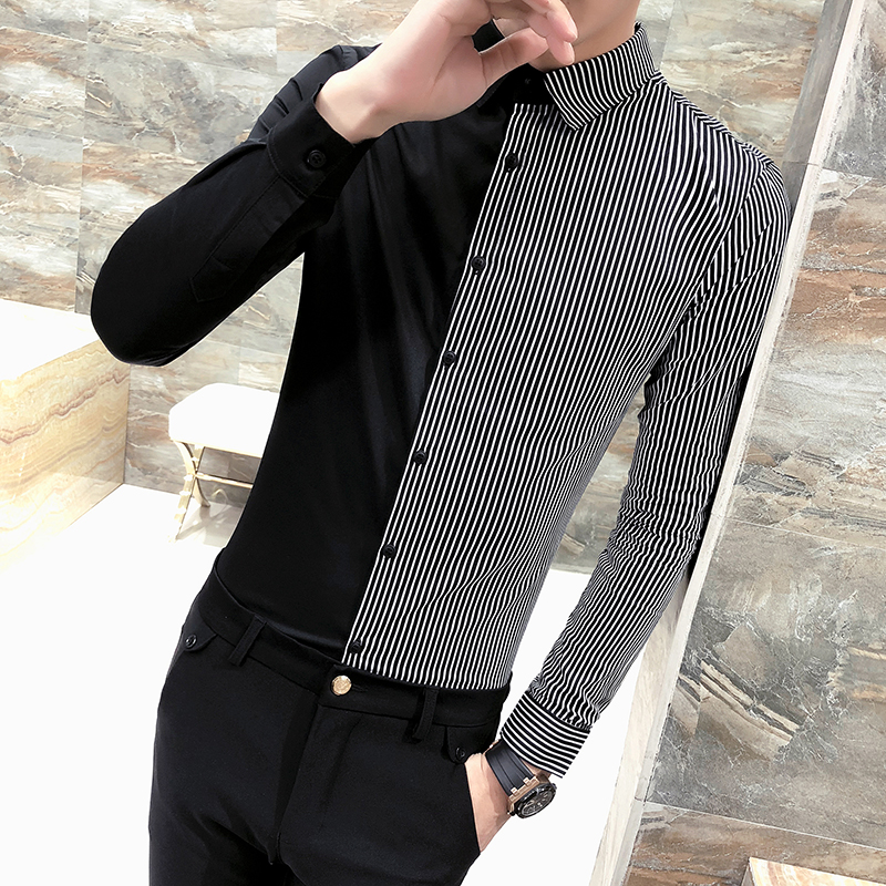 Fashion 2018 Men Striped Shirt Long Sleeve Slim Fit Patchwork Tuxedo Shirt Men Casual Plus Size Night Club Work Shirt Social 3XL