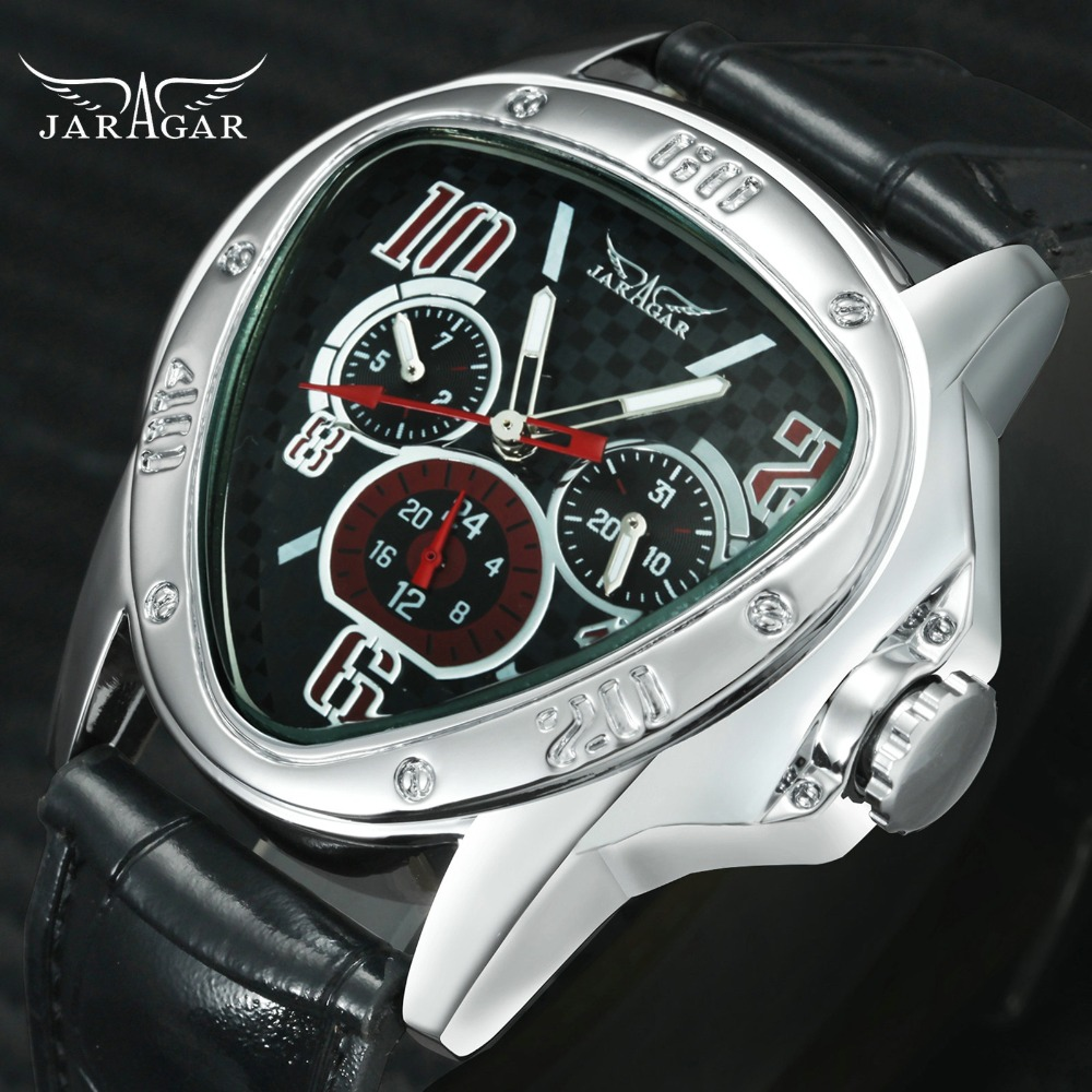 De moda de los hombres de lujo automático mecánico relojes de marca ganador triángulo de los hombres relojes 3 Sub-esferas 6 reloj hombre