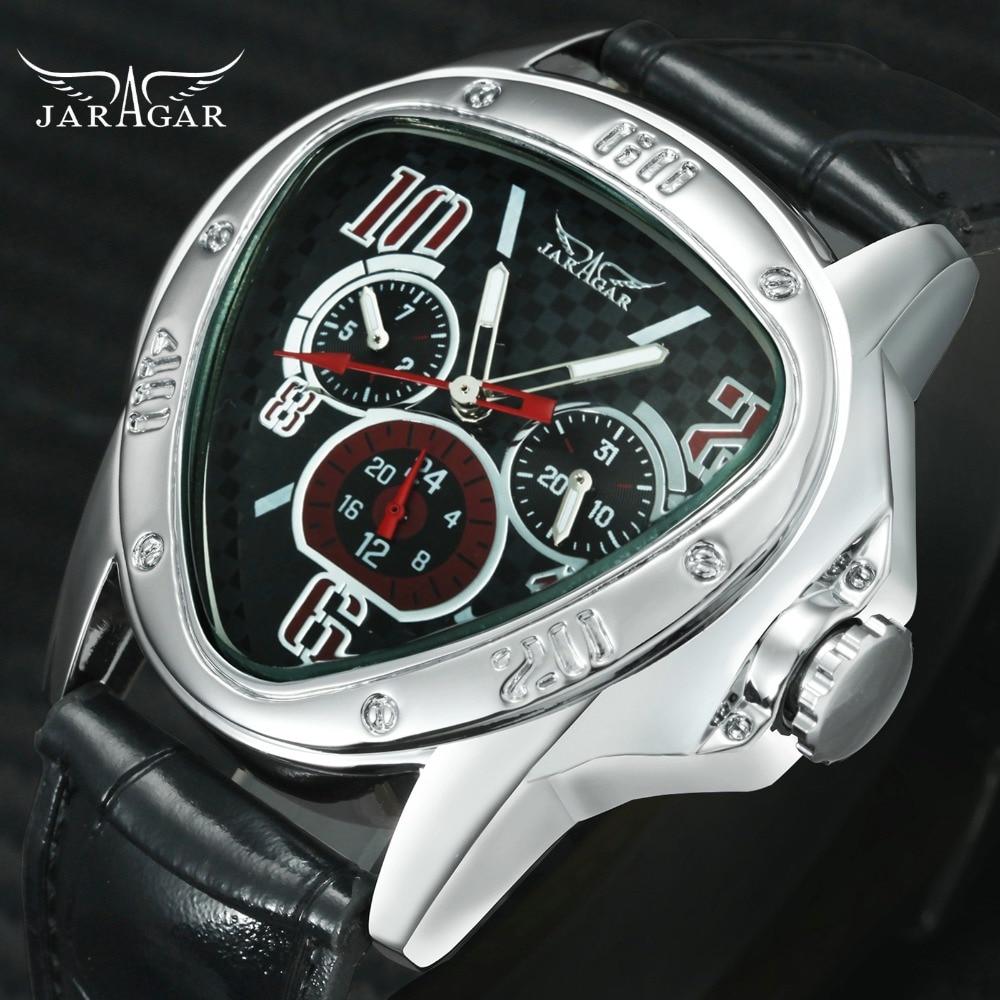 Mode Luxus Männer Automatische Mechanische Armbanduhren Top Marke GEWINNER Dreieck männer Uhren 3 Sub-dials 6 Hände reloj hombre