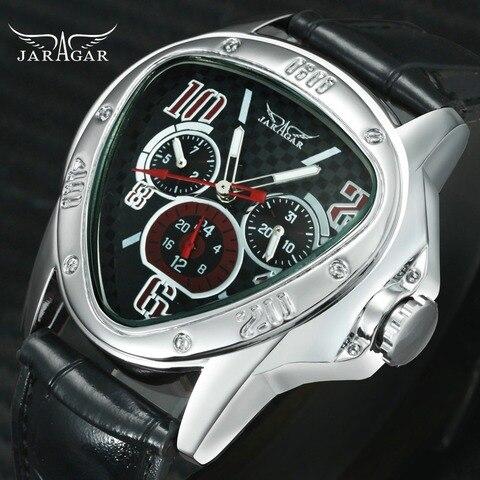 Moda de Luxo Relógios de Pulso Relógios de Topo Masculino Mecânico Automático Marca Triangle 3 Sub-mostradores 6 Mãos Reloj Hombre