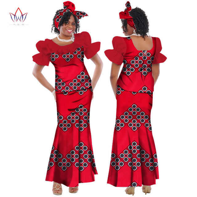 wedding dress 2018 summer traditional african dresses for women O-neck  skirt set dashiki plus size cotton clothing natural WY169 5a8db667b808