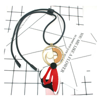 Collares 2016 Choker Acrylic Necklaces Black Flower Jewelry Geometric ZA Leather Pendant Statement Necklace Jewelry Bijoux