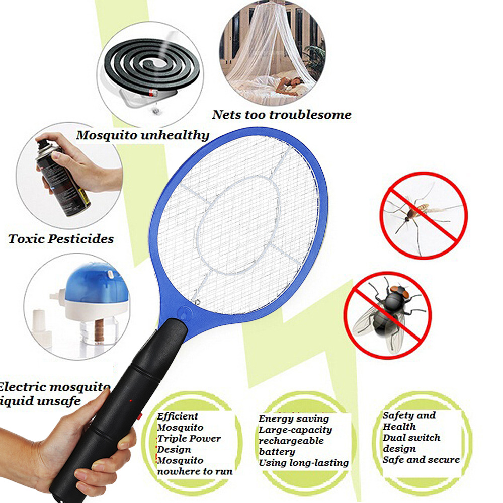 2 AA batteries Operated Hand Racket Electric Mosquito Swatter Insect Home Garden Pest Bug Fly Mosquito Zapper Swatter Killer