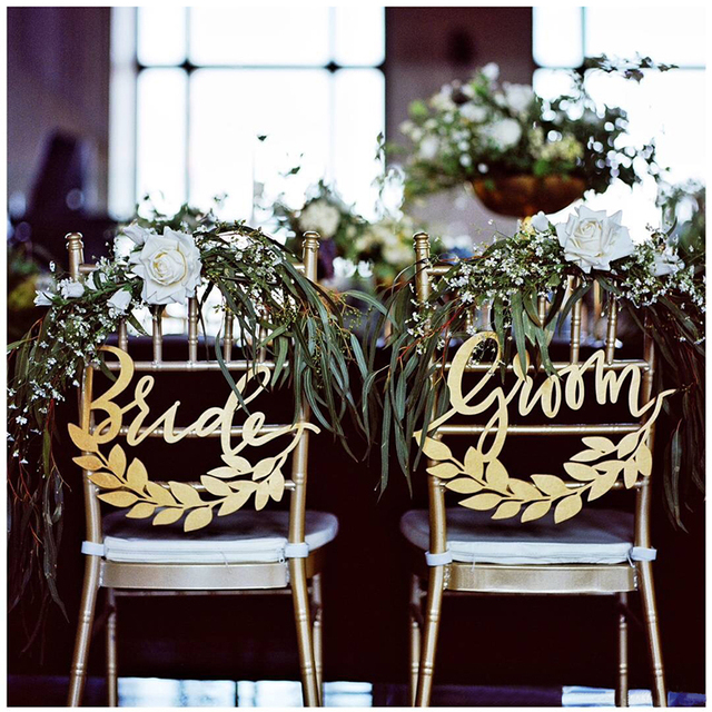 wedding bride and groom chairs playstation 4 gaming chair hangers signs gold acrylic engraved rustic reception photo props